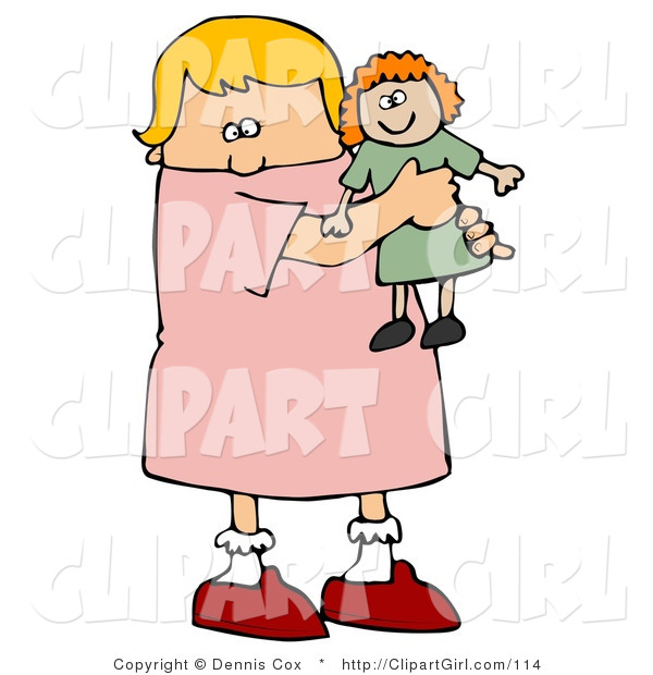 Clip Art of a Little Blond White Girl Child Holding and Hugging Her Red Haired Doll Toy While Playing