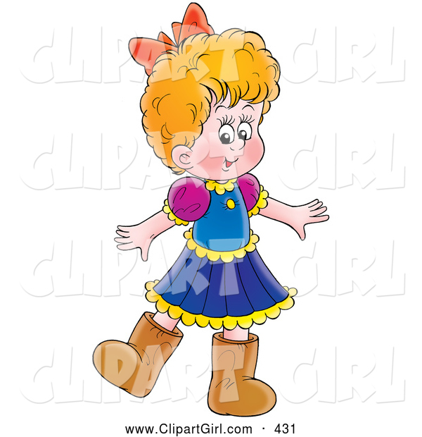 Clip Art of a Little Girl in a Dress and Brown Boots, on White