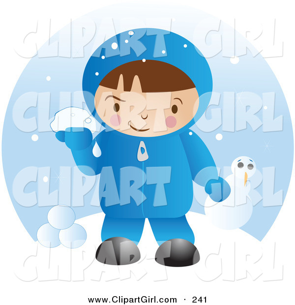 Clip Art of a Little White Boy in Winter Clothing, up to Mischief and Preparing to Throw Snowballs After Making a Snowman on a Winter Day
