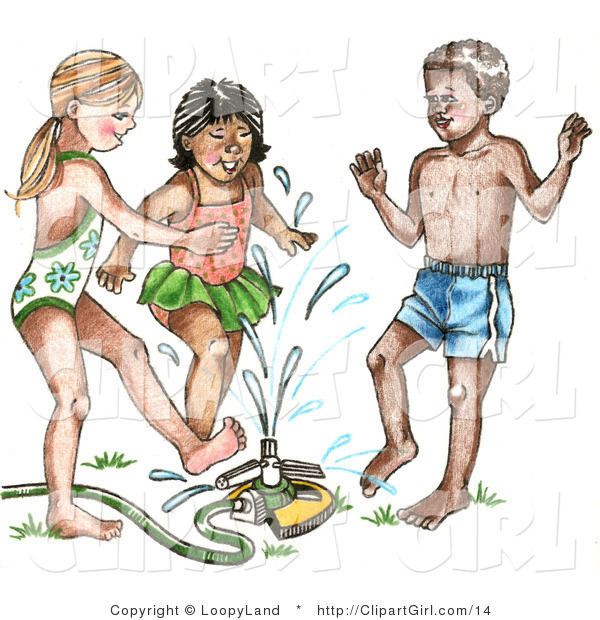 Clip Art of a Mixed Race Trio of Children Playing in a Sprinkler on a Hot Summer Day
