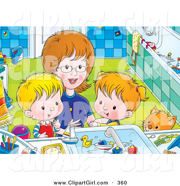 Clip Art of a Mother Bending down to Help Her Children, a Boy and Girl, Clean Themselves up in a Bathroom