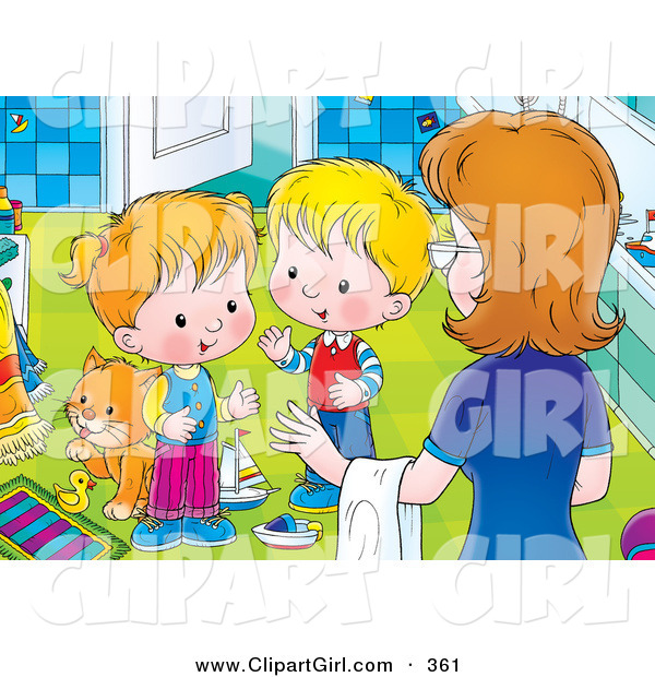 Clip Art of a Mother Instructing Her Two Little Children to Clean up the Messy Bathroom in the House