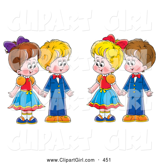 Clip Art of a Painting of Two Couples, Boys and Girls, Holding Hands