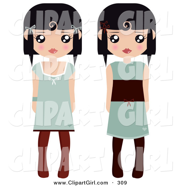 Clip Art of a Pair of Black Haired Female Paper Dolls in Green Dresses and Black and Brown Tights