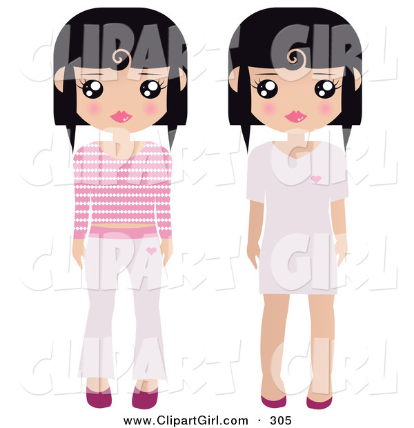 Clip Art of a Pair of Black Haired Female Paper Dolls Pink and White Shoes, Dresses, Pants and Shirts