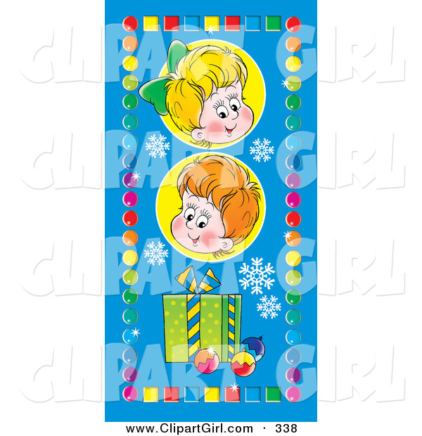 Clip Art of a Pair of Happy Children with a Gift and Ornaments, on a Blue Background with Snowflakes, Bordered by Colorful Squares and Circles