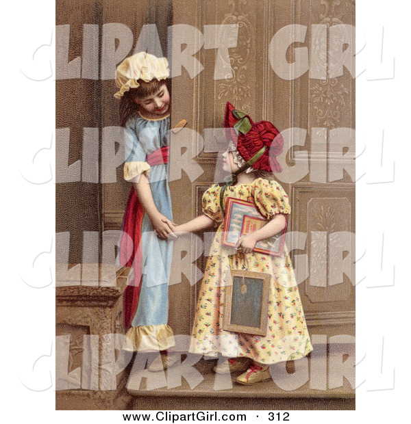 Clip Art of a Pair of Little Sisters at a Doorway, Smiling and Holding Hands, Circa 1880