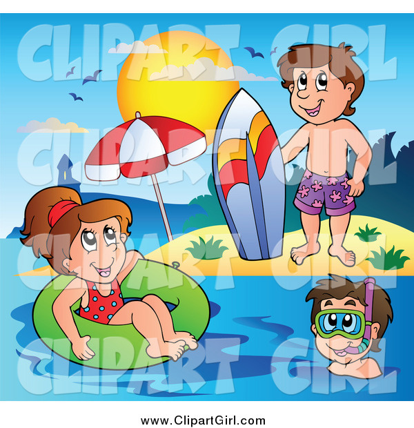 Clip Art of a Playful White Summer Kids with a Surfboard Innertube and Snorkel Gear