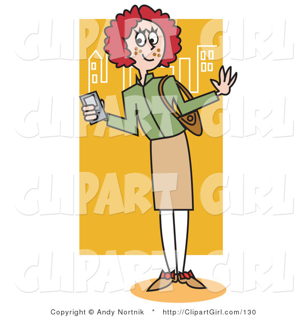 Clip Art of a Preppy Red Haired School Girl