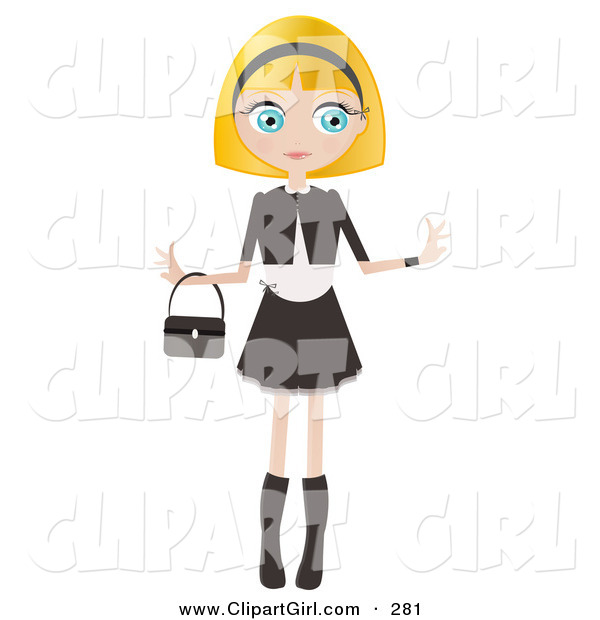 Clip Art of a Pretty Blond Haired, Blue Eyed Caucasian Woman Dressed in Black and White, Standing with Her Arms out and a Purse Draped on Her Wrist