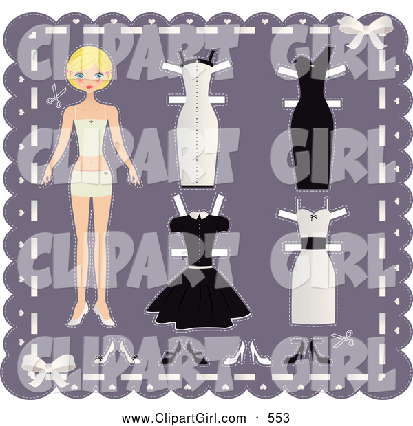 Clip Art of a Pretty Blond Teenage Girl Paper Doll on a Purple Background with Cutout Dresses and Shoes