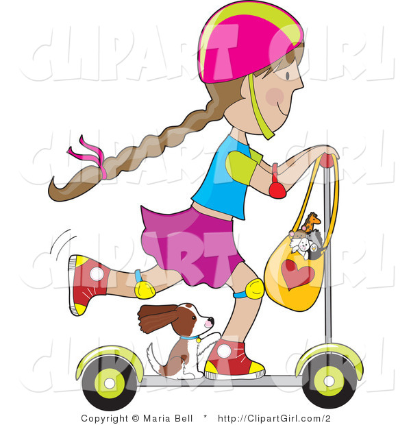 Clip Art of a Puppy Riding on a Scooter with a Little Girl - Royalty Free