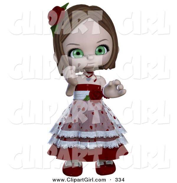 Clip Art of a Realistic 3D Rendered Green Eyed White Valentine Girl in a Heart Dress with Roses