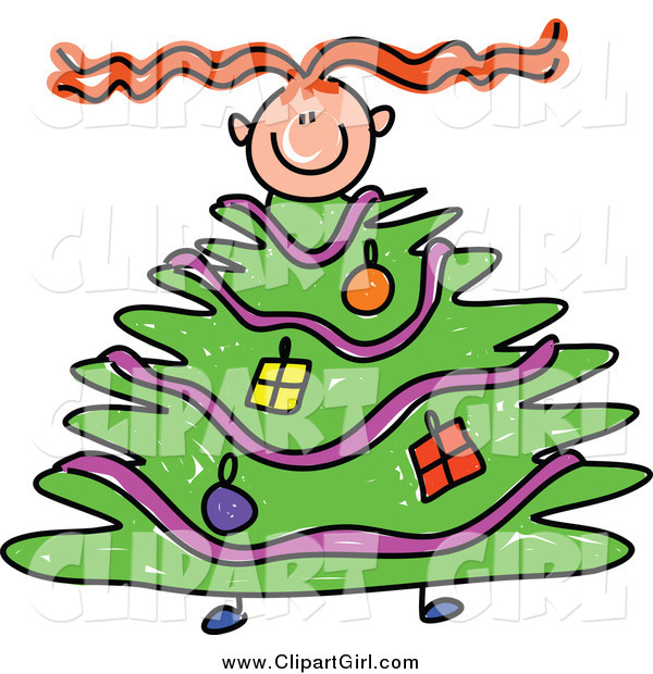 Clip Art of a Red Haired Girl with a Christmas Tree Body