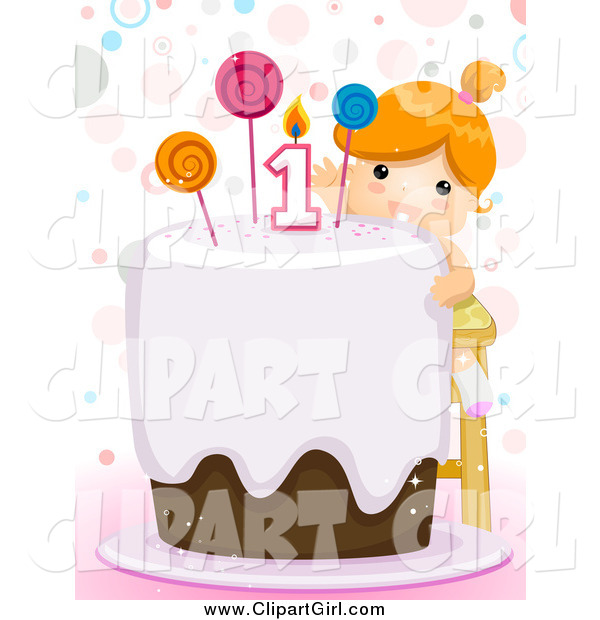 Clip Art of a Red Haired White First Birthday Girl Reaching Towards the Candle on Her Cake