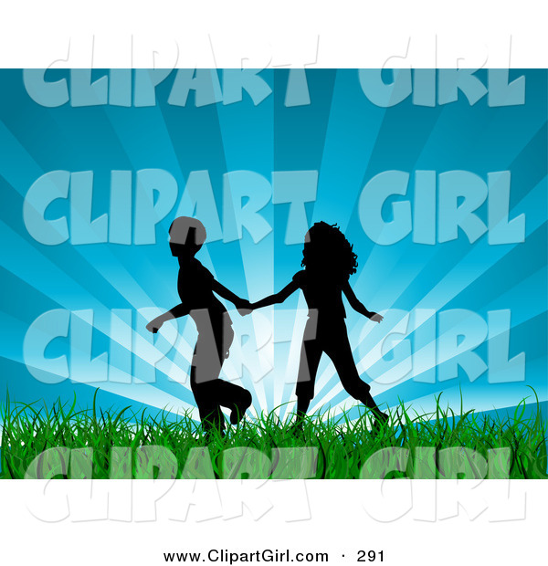 Clip Art of a - Royalty FreeBlack Silhouetted Boy and Girl Holding Hands and Running Through Lush Green Grass with a Bursting Blue Sky Background