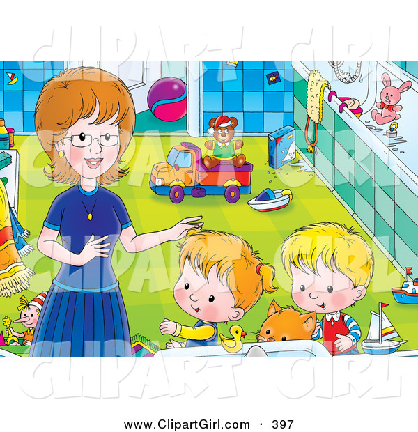 Clip Art of a - Royalty FreeChildren Getting Help from Mom in a Bathroom