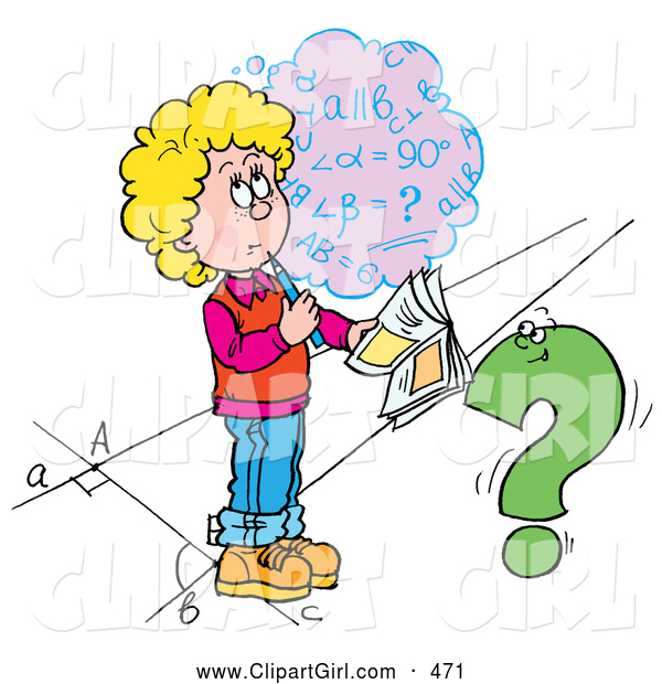 Clip Art of a School Girl Trying to Figure out a Math Problem for Her Homework