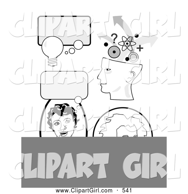 Clip Art of a Set of Educational Icons with Thought Bubbles, a Girl Thinking, Genius Head and Albert Einstein