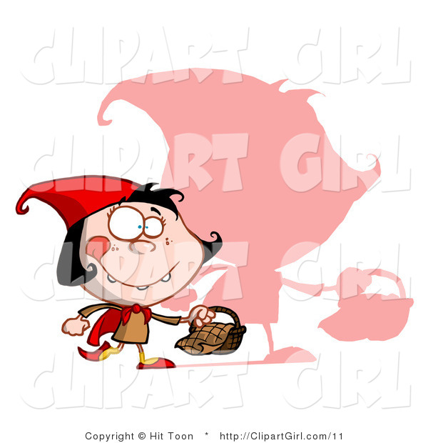 Clip Art of a Shadow and Red Riding Hood - Royalty Free