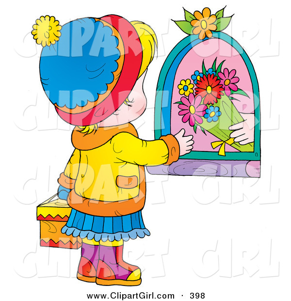 Clip Art of a Shopkeeper Giving Flowers to a Little Girl Carrying a Gift on Mothers Day
