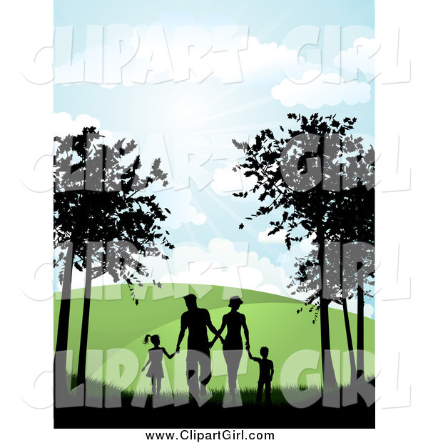 Clip Art of a Silhouetted Family Holding Hands While Walking on a Path