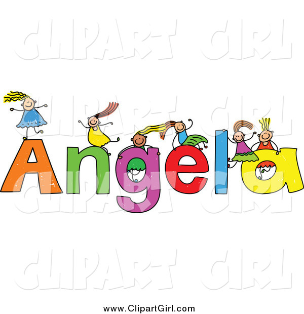 Clip Art of a Sketch of Girls Playing on the Name Angela