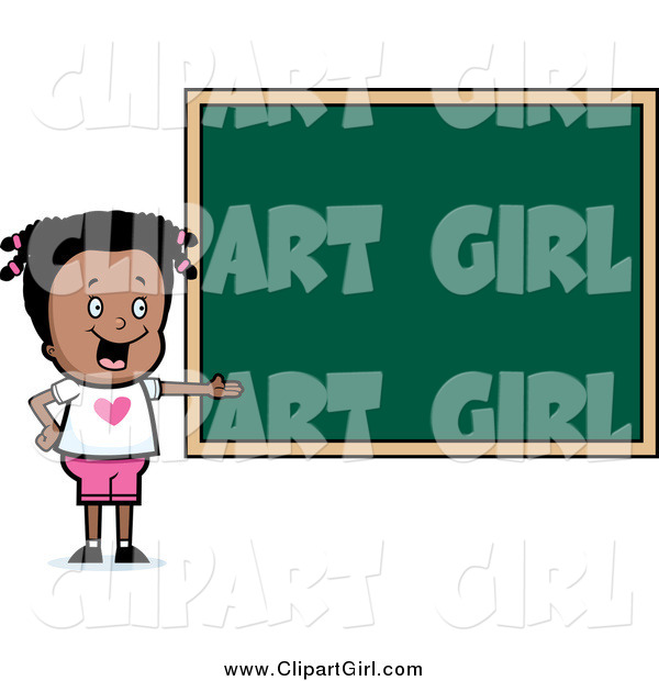 Clip Art of a Smart Black School Girl Presenting a Blank Chalkboard