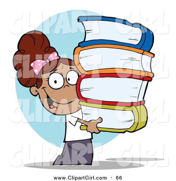 Clip Art of a Smart Hispanic School Girl Carrying a Stack of Books over Blue
