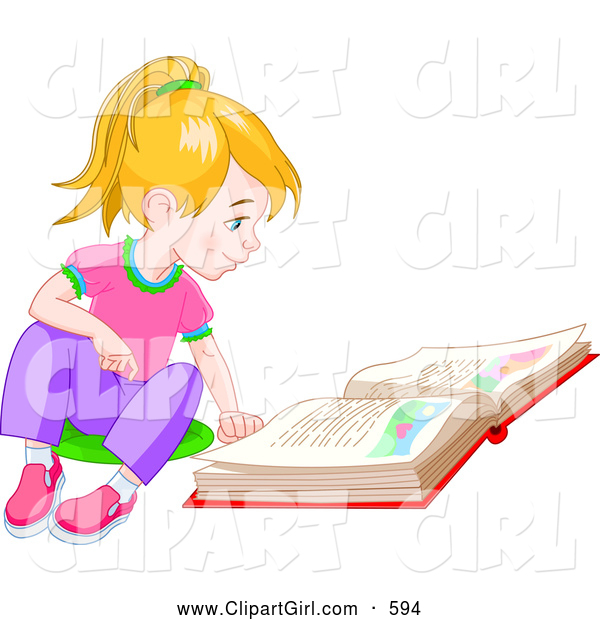 Clip Art of a Smiling Blond Little Girl Sitting on the Floor and Reading a Story Book
