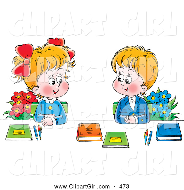 Clip Art of a Smiling Boy and Girl in Uniforms, Sitting with Flowers and Books and Smiling at Each Other