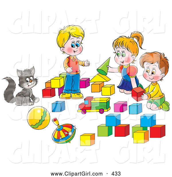 Clip Art of a Smiling Cat Watching Two Boys and a Girl Play with Blocks