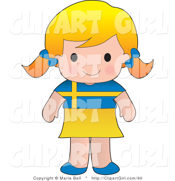 Clip Art of a Smiling Cute Blond Swedish Girl Wearing a Flag of Sweden Shirt