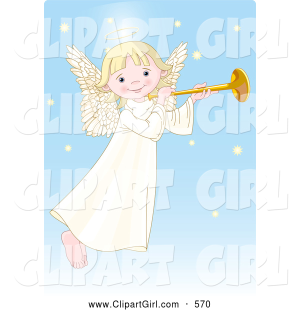 Clip Art of a Smiling Cute, Innocent, Blond Femal Angel with a Halo, Playing a Horn