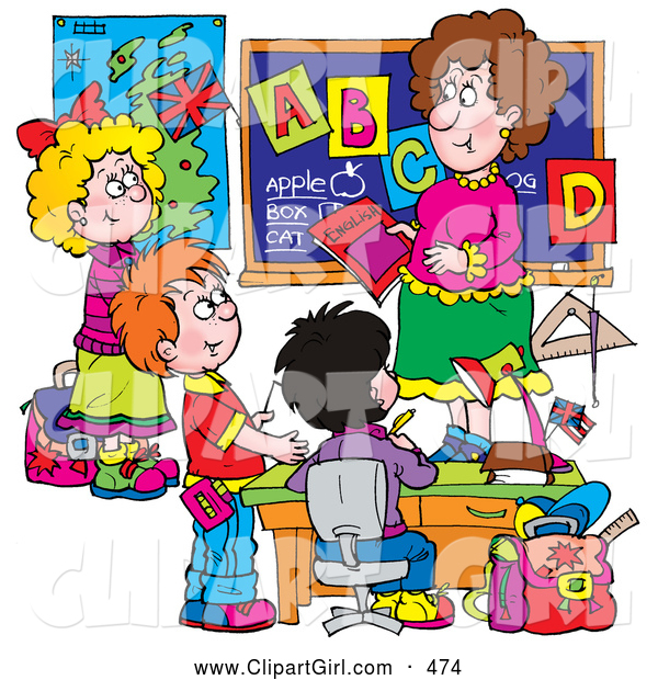 Clip Art of a Smiling Female School Teacher Teaching Students the Alphabet