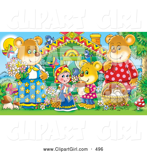 Clip Art Of A Smiling Goldilocks Standing Outside Cabin With