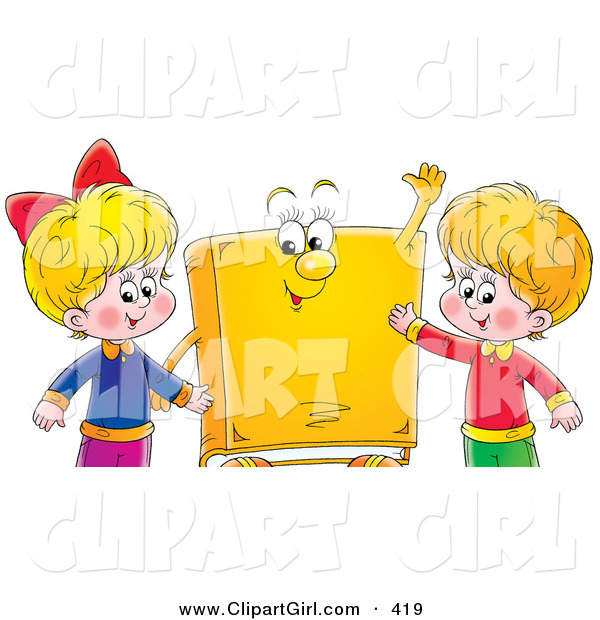 Clip Art of a Smiling Happy Boy and Girl Standing with a Yellow Book Character