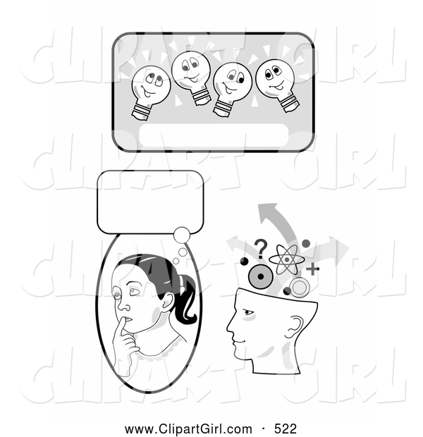 Clip Art of a Smiling Lightbulb Text Box, Girl in Thought and Human Head Brainstorming