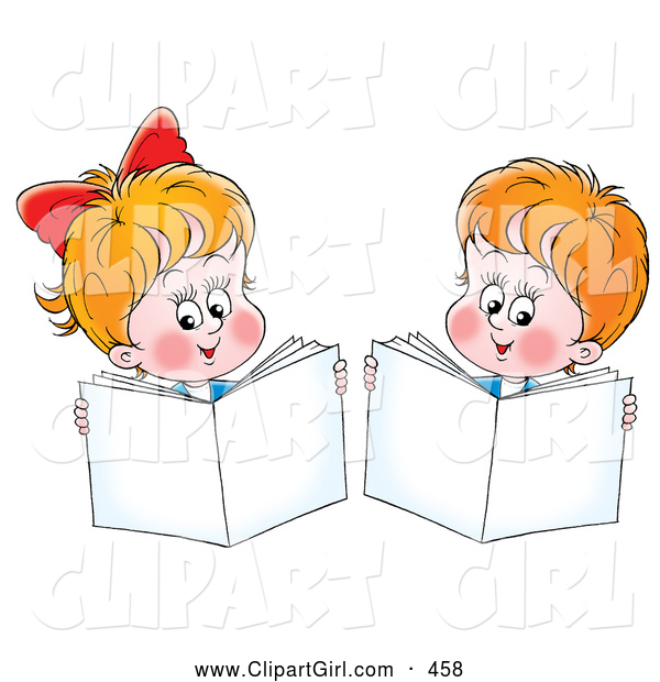 Clip Art of a Smiling Little Boy and Girl Holding up Books While Reading
