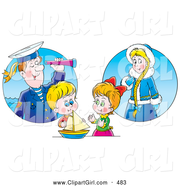 Clip Art of a Smiling Little Boy and Girl Playing with a Boat and Imagining Their Ancestors