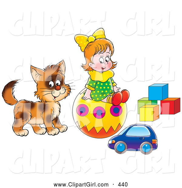 Clip Art of a Smiling Little Girl and Cat Playing with a Toy Car, Ball and Blocks