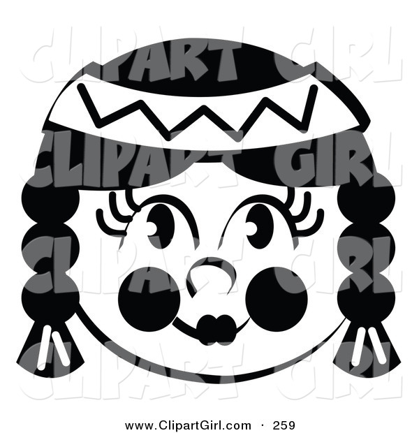 Clip Art Of A Smiling Native American Indian Female S Face