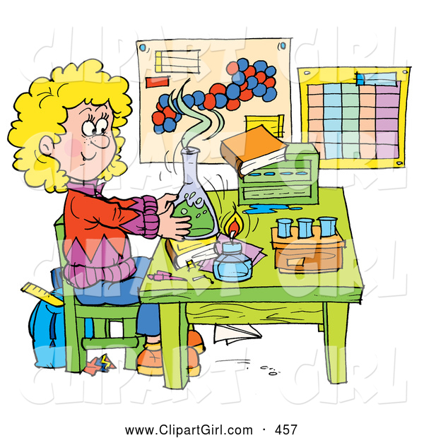 Clip Art of a Smiling School Girl Conducting a Science Experiment in a Lab