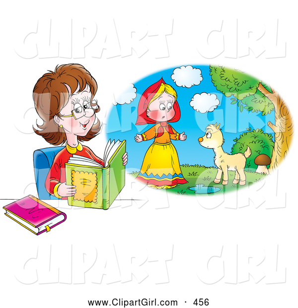 Clip Art of a Smiling Woman Reading a Book and Imagining That She Is in the Story