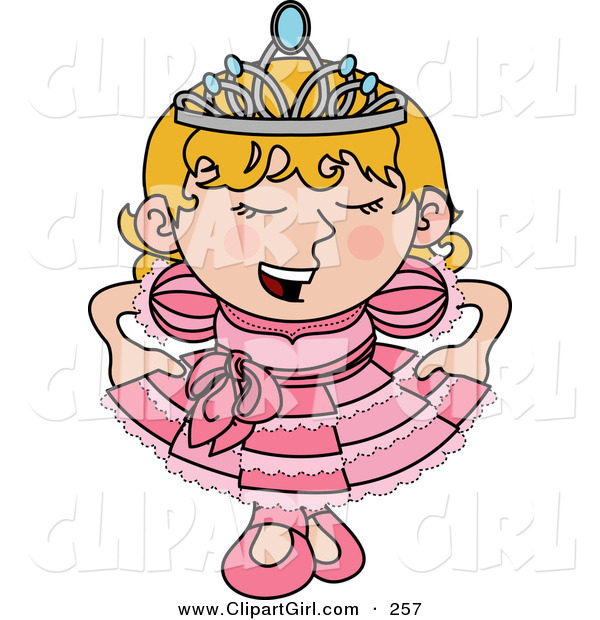 Clip Art of a Spoiled Blond White Princess Girl in a Pink Dress and Crown