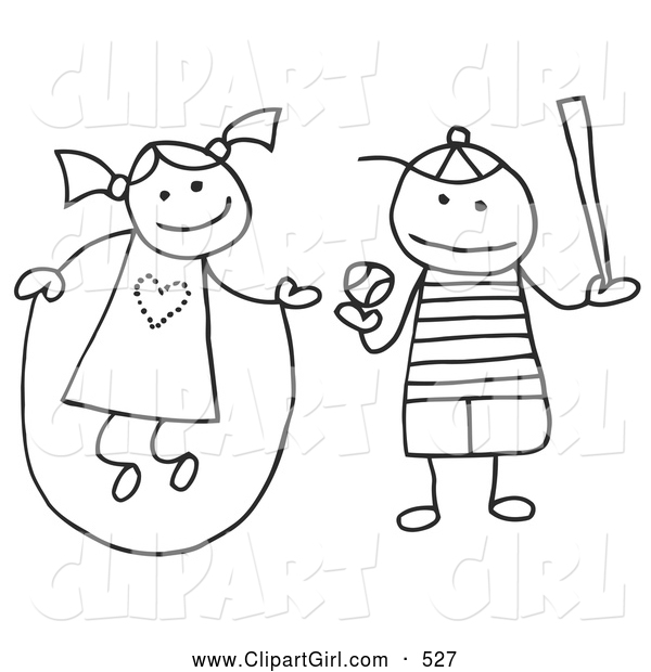 Clip Art of a Stick Figure Girl and Boy Jumping Rope and Playing Baseball