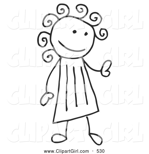 Clip Art of a Stick Figure Girl with Curly Hair