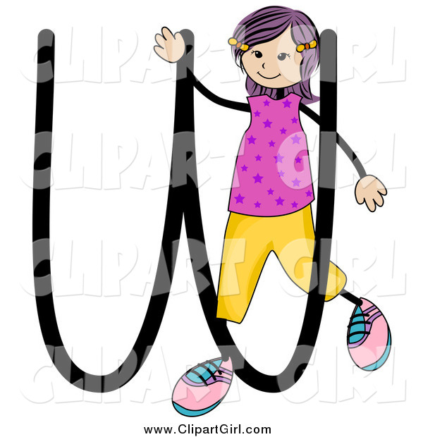 Clip Art of a Stick Girl and Letter W