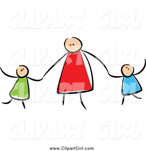 Clip Art of a Stick Mother Holding Hands with Her Children