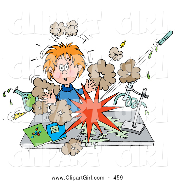 Clip Art of a Surprised School Girl Conducting a Chemistry Experiment While Her Chemicals Explode